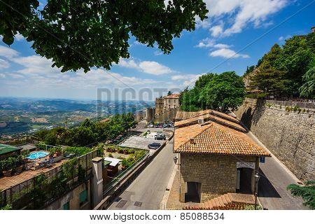 Landscape With Roofs Of Houses In Small Tuscan Town In Province