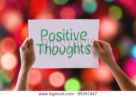 Positive Thoughts card with colorful background with defocused lights