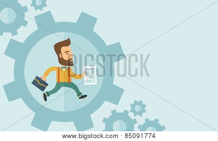 The man with a beard is running inside the gear. Business in action concept. Vector flat design Illustration. Horisontal layout with a text space in a right.