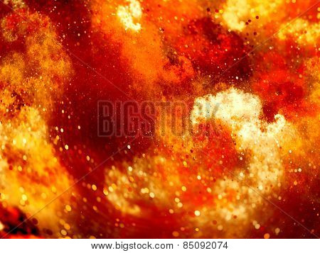 Red Glowing Fire Nebula In Space