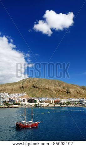 Ship in Los Cristianos resort, Tenerife, Canary Islands, Spain
