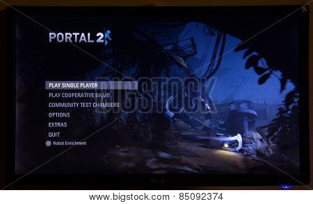 Depew, OK, USA - March 5, 2015: Portal 2 is a 2011 first-person puzzle-platform video game developed and published by Valve Corporation. It is the sequel to Portal and was released on April 19, 2011.