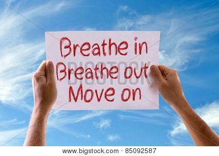Breathe In Breathe Out Move On card with sky background