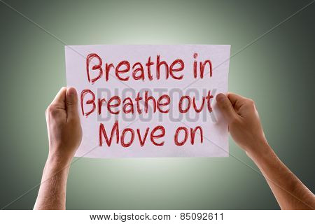 Breathe In Breathe Out Move On card with green background