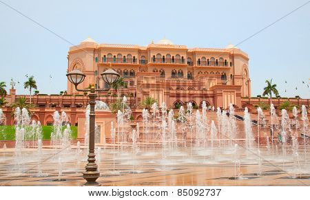 ABU DHABI, UAE - APRIL 27: Facade of the Emirates Palace hotel on April 27, 2014, UAE. Seven stars Emirates Palace is the second most expensive hotel ever built for about 6 billion USD.
