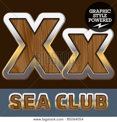 Vector set of elite old styled font in sea club theme. Letter X