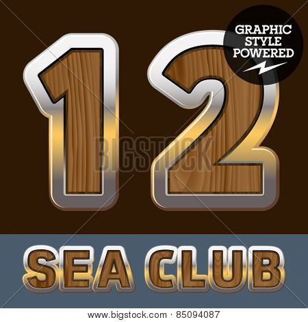 Vector set of elite old styled font in sea club theme. Numbers 1 2