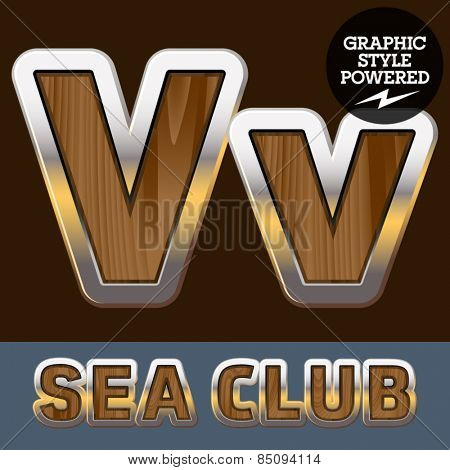 Vector set of elite old styled font in sea club theme. Letter V