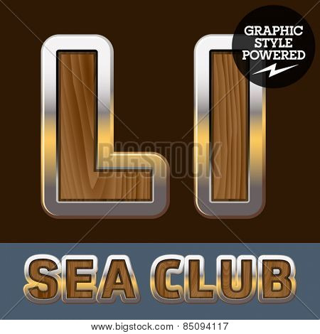 Vector set of elite old styled font in sea club theme. Letter L