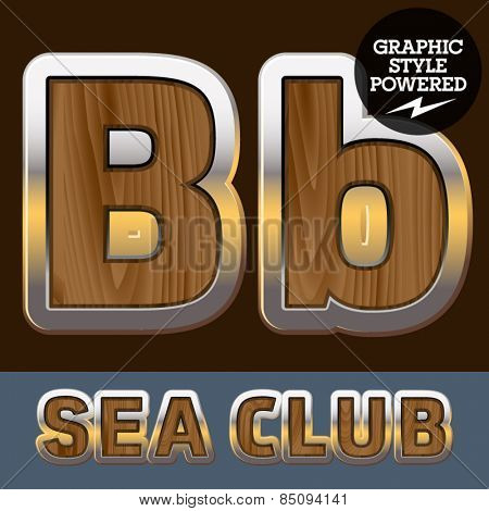 Vector set of elite old styled font in sea club theme. Letter B