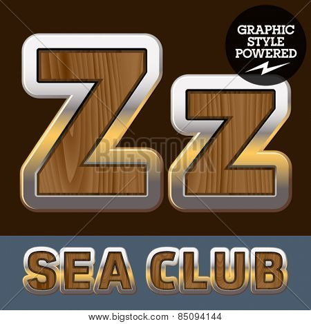 Vector set of elite old styled font in sea club theme. Letter Z