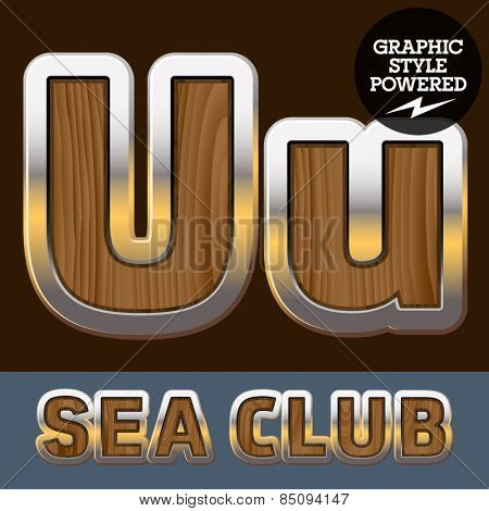 Vector set of elite old styled font in sea club theme. Letter U