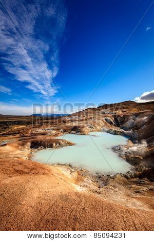 Hot pool at Krafla volcanic field in Iceland