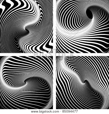Vortex movement. Op art patterns. Vector art.