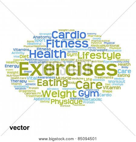 Vector concept or conceptual abstract word cloud on white background as metaphor for health, nutrition, diet, wellness, body, energy, medical, fitness, medical, gym, medicine, sport, heart or science