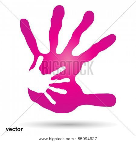 Vector conceptual human or mother and child hand prints painted, isolated on white background for art, care, childhood, family, fun, happy, infant, symbol, kid, little, love, mom, motherhood or young