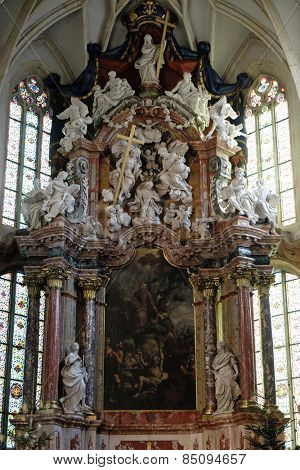 GRAZ, AUSTRIA - JANUARY 10, 2015: Altar in Graz Cathedral dedicated to Saint Giles in Graz, Styria, Austria on January 10, 2015.