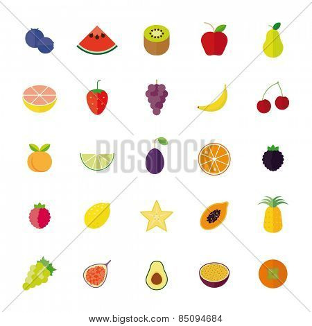 Flat Design Isolated Fruit Vector Icon Set. Collection of 25 flat design fruit icons isolated on white background.