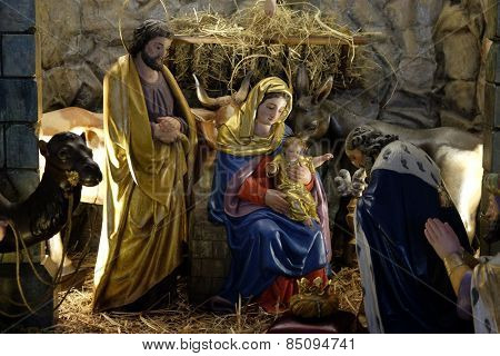 GRAZ, AUSTRIA - JANUARY 10, 2015: Nativity scene, creche, or crib, birth of Jesus in Parish Church of the Holy Blood in Graz, Styria, Austria on January 10, 2015.