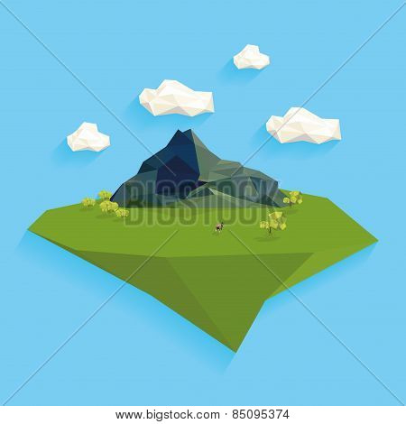 an isolated landscape with geometrical mountains and objects