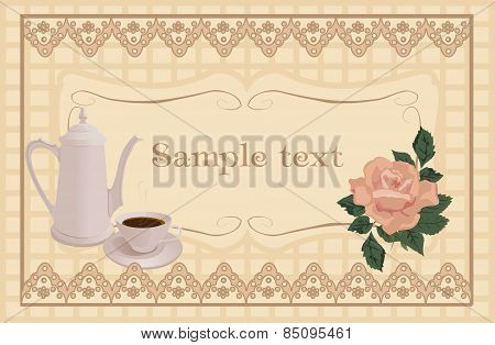 White coffee pot and Cup of coffee.