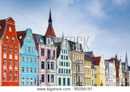 Rostock, Germany old town cityscape.