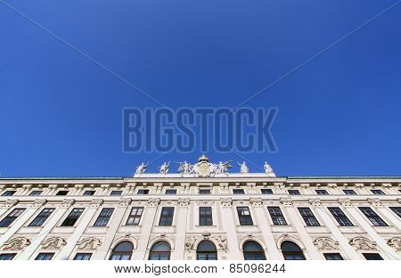 VIENNA, AUSTRIA - OCTOBER 10, 2014: Architectural decorations on Hofburg palace, Vienna; Austria. Hofburg was residence of Habsburg dynasty, rulers of Austro-Hungarian Empire. Vienna, Austria
