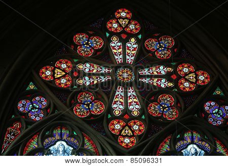 VIENNA, AUSTRIA - OCTOBER 10: Stained glass in Votiv Kirche (The Votive Church). It is a neo-Gothic church in Vienna, Austria on October 10, 2014