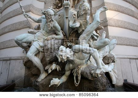 VIENNA, AUSTRIA - OCTOBER 10: Power at Sea fountain at the Hofburg in Vienna, Austria on October 10, 2014.
