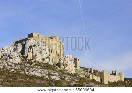 view of the medieval castle Loarre, Aragon, Spain.