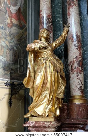 GRAZ, AUSTRIA - JANUARY 10, 2015: Virgin Mary, altar of the Holy Cross, Barmherzigenkirche church in Graz, Styria, Austria on January 10, 2015.