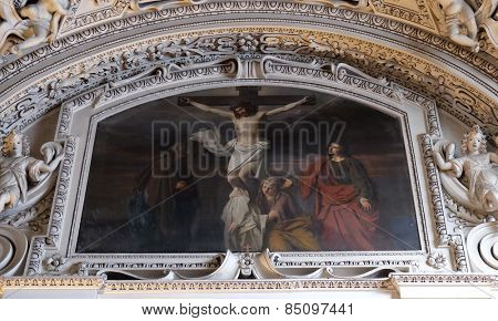 SALZBURG, AUSTRIA - DECEMBER 13: 12th Stations of the Cross, Jesus dies on the cross , fragment of the dome in Salzburg Cathedral on December 13, 2014 in Salzburg, Austria.