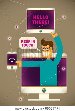 Technology illustration with comic guy. Vector illustration.