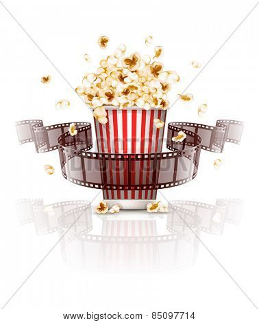 Jumping popcorn and film-strip film. Eps10 vector illustration. Isolated on white background