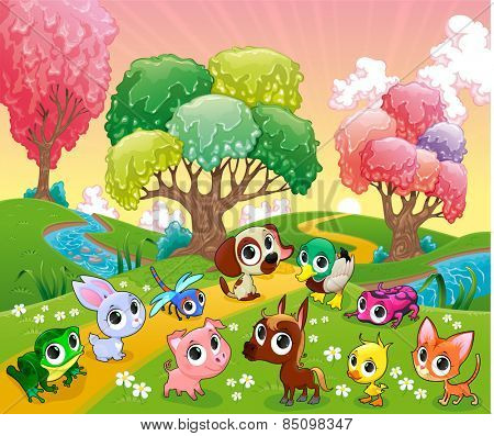Funny animals in the magic wood. Cartoon vector illustration.
