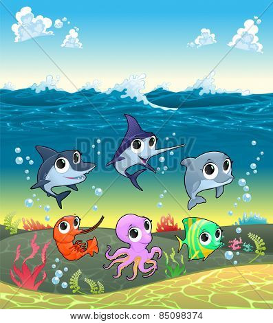Funny marine animals on the ocean floor. Cartoon vector illustration