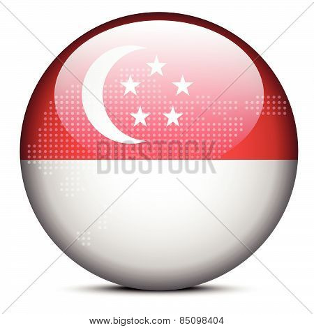 Map With Dot Pattern On Flag Button Of Republic  Singapore