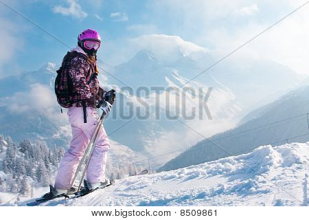 Woman Skiier. The Alps