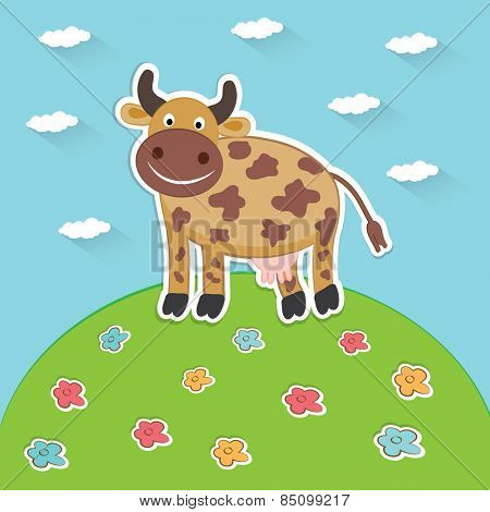 Cow on green to the meadow. Vector  illustration