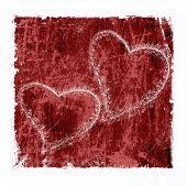 picture of two hearts  - two hearts on red grunge background - JPG