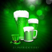 picture of leprechaun hat  - Green beer in mugs with glossy leprechaun hat on rays background for Happy St - JPG