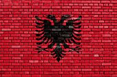 picture of albania  - flag of Albania painted on brick wall - JPG