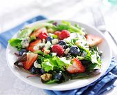 foto of walnut  - berry salad with walnuts and blue cheese on white table cloth - JPG