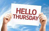 stock photo of thursday  - Hello Thursday card with sky background - JPG