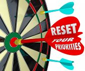 image of reorder  - Reset Your Priorities words on a dart board to illustrate targeting most important jobs or tasks and changing the order to get them done - JPG