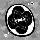 stock photo of womb  - twin fetus in womb - JPG
