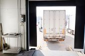 picture of loading dock  - Truck are loaded at the warehouse - JPG