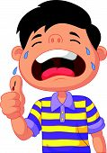 image of crying boy  - Vector illustration of Cartoon boy crying because of a cut on his thumb - JPG