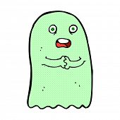 stock photo of funny ghost  - funny retro comic book style cartoon ghost - JPG