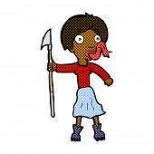 image of sticking out tongue  - retro comic book style cartoon woman with spear sticking out tongue - JPG